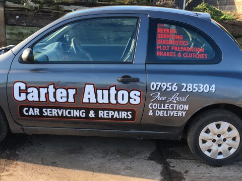 Vinyl signs for company vehicle