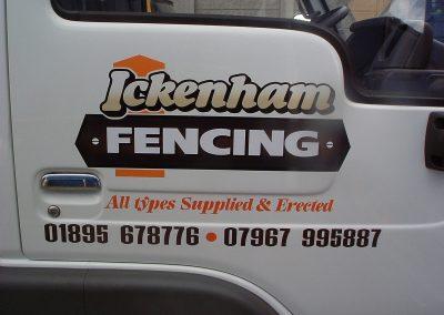 vinyl signage on Ickenham Fencing van